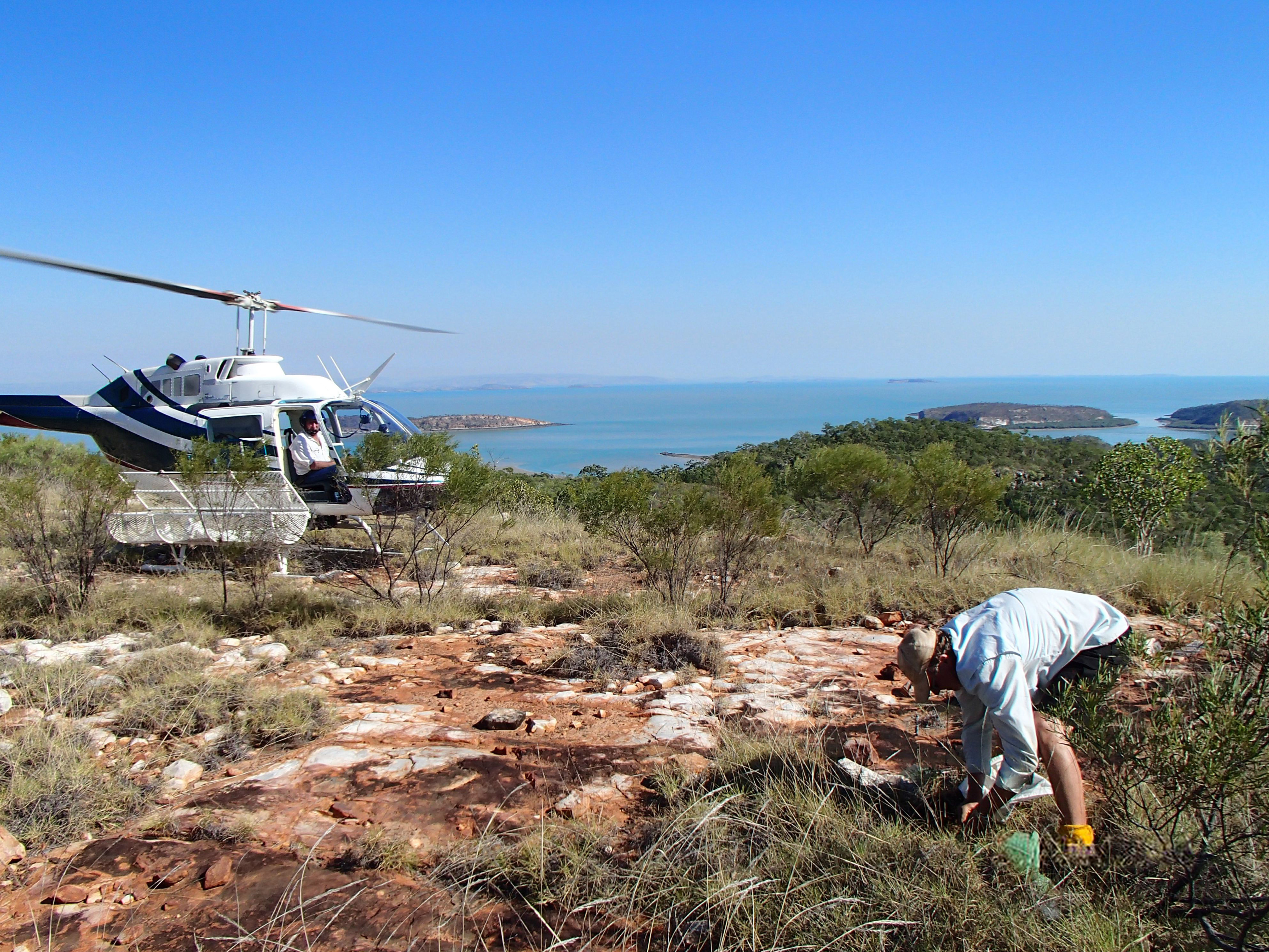 Regolith is poorly developed on the Yampi Peninsula in the western part of the Kimberley region of northwest Australia. Sampling is carried out by helicopter fitted with a skid-mounted basket to hold sampling equipment and expand the sample-carrying capacity. - Paul Morris, Gov of WA